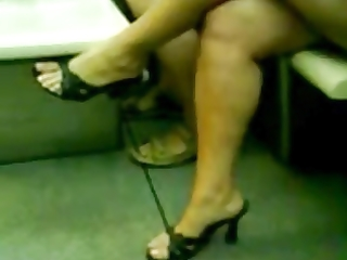 aged crossing legs