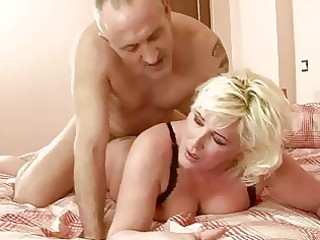 breasty bulky grandma receives drilled hard