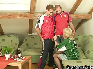 blonde granny pleases two allies