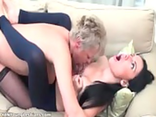 lustful aged blond lesbo with a short