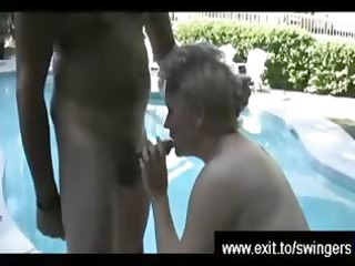mom tracey with cum mambos by swimming pool