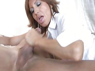 dark brown milf with amazing boobies sucks and