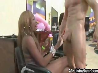 stripper enjoys being sucked by milfs