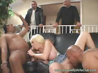 interracial anal three-some with golden-haired