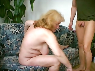 plump granny can cum dripping from her chin