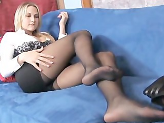 big boobed blond milf teases with her sheer