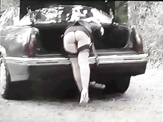 bitch wife in nylons and heels shows wet crack in