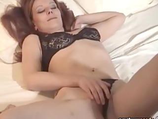 MILF lingerie amateur masturbating EXGF solo babe