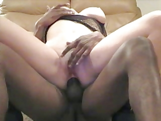 Cuckold wife close up anal with black pole