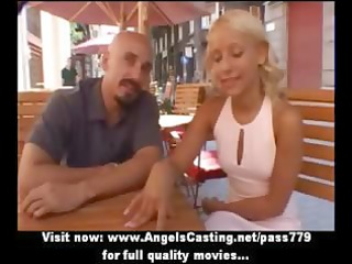 breathtaking blond mommy talking with a dude