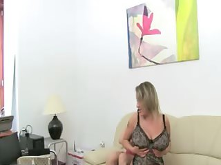 older woman banging on leather bed