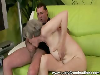skilled granny fucking juvenile fellow on couch