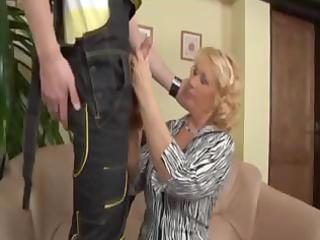 blond aged cougar pays the plumber with a