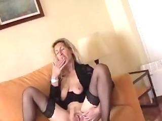 wicked older blond widens her fur pie lips and