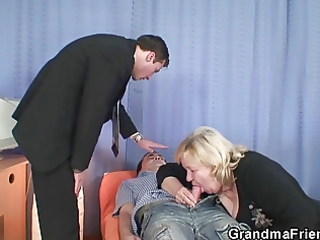 granny gives double oral job and receives