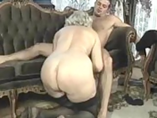 aged blond whore rides jock in group sex