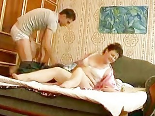 youthful hunk bangs older bulky momma in bedroom