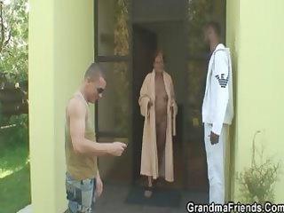 interracial threesome fuckfest with granny